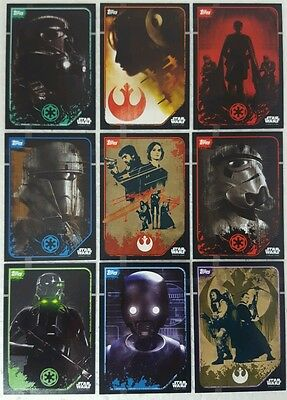 ROGUE ONE STICKER  /  Card SET of 10 UK Edition  # 203 - 212  Star Wars 2016