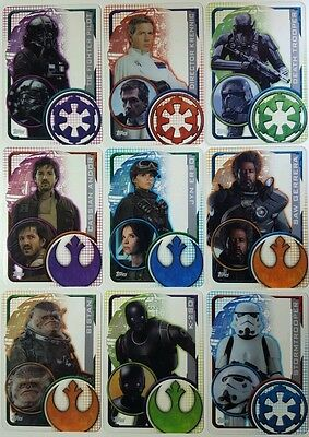 ROGUE ONE Plastic Card SET of 10 UK Edition  2016  # 193 - 202 Star Wars
