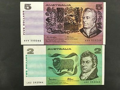 AUSTRALIA  (2 Notes)  2 and 5 Dollars  1974 and 1985