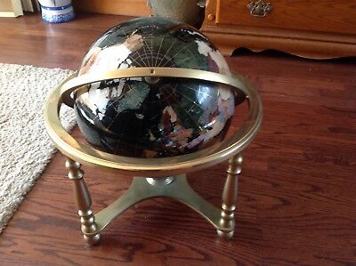 Large Black Gem Stone Globe 330mm On Four Legged Stand With Compass