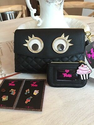 Lot of 4 Betsey Johnson xox Trolls Googly Eyes Purse Clutch,PinSet & Coin Pouch