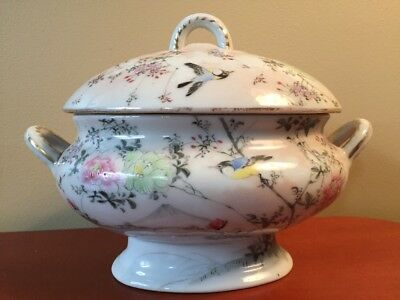 Antique Japanese Porcelain Hand Painted Birds Flowers Covered Sauce Bowl & Plate