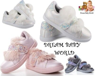 GIRLS Glitter Pom FUR Pumps BUNNY Plimsolls SNEAKERS TRAINERS SHOES Shimmer KIDS