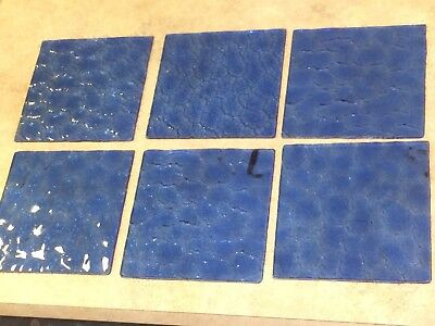 """(6) Blue Individual Stained Glass Squares 5.75"""" Inch Vintage Stain Glass"""