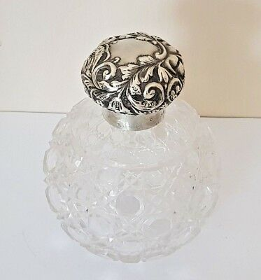 Large Victorian Globular Cut Glass Scent Bottle Bird & Face Mask Silver Lid 1900