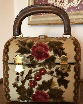 Vintage Tano of Madrid Made in Spain Velvet/Brocade/Leather Box Purse