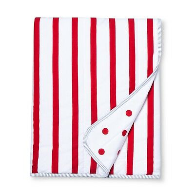 Jersey Knit Reversible Baby Blanket Stripes - Cloud Island™ - Red/White  I3 006