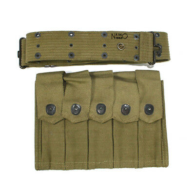 Original US Army Thompson 5 cell 20rd magazine pouch with belt 1943 dated