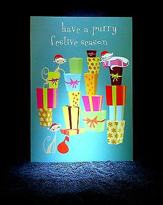 "SHAG Rare 2004 ""HAVE A PURRY FESTIVE SEASON"" Christmas Greeting Note card - NEW"