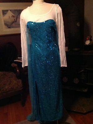 Princess Elsa  Frozen Inspired Adult Costume Cosplay Blue Gown Dress xxl (16/18)