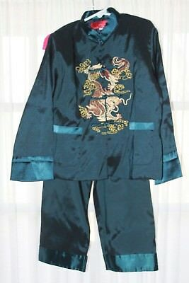Unisex Size 6 Kung Fu Silk Satan Embroidered Traditional Chinese Style Outfit
