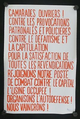 Affiche originale mai 68 CAMARADES OUVRIERS french poster 1968 France Insoumise