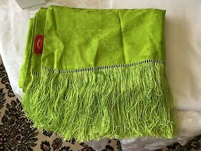 Lime Green Chinese Shawl / Scarf Beautiful Fringe Shanghai Tang Made In Chinese