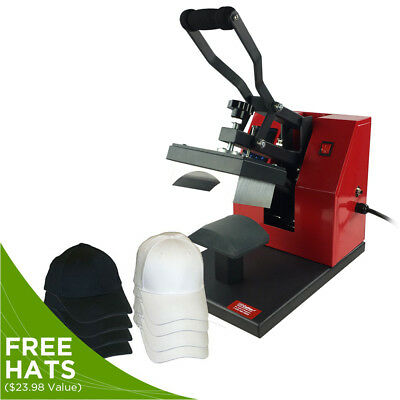 Digital Cap Heat Press Machine w/ 8 FREE Baseball Hats, Hat Press Heat Transfer