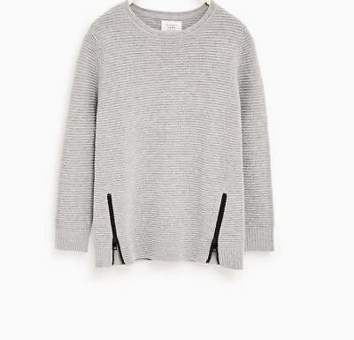 Zara Boys Sweater with Side Zips Gray SZ 13-14