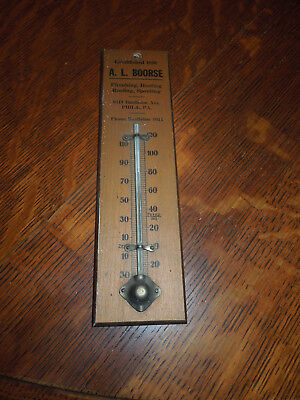 Wooden Thermometer A.L. Boorse Philadelphia, PA. Plumbing Heating Antique