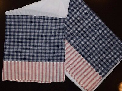 Walt Disney Baby Red White Blue Plaid Striped Crib Dust Ruffle Skirt Unisex CUTE