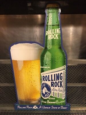 ROLLING ROCK ~ LATROBE BREWING PA ~ A Unique State of Beer ~ SIGN Bottle Bar Pub
