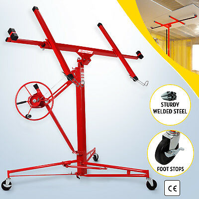 11' Drywall Lifter Panel Hoist Jack Rolling Caster Construction Lockable Red