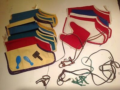 Vtg-Large lot Breyer Horse blankets, bridle reins,combs,accessories traditional