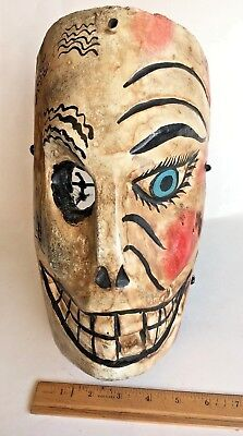 ONE EYED SKULL DANCE MASK Vintage Mexican Hand Carved Wood Folk Art Wall Decor