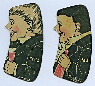 """1930's Sa Royal Show Optical Illusion Tin Cut Outs """"which Is The Bigger"""" D40"""