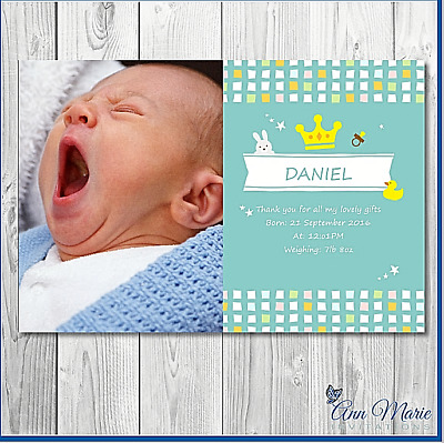 15 x  ARRIVAL PERSONALISED THANK YOU BIRTH ANNOUNCEMENTCARD NEW  BOY BABY  CARD