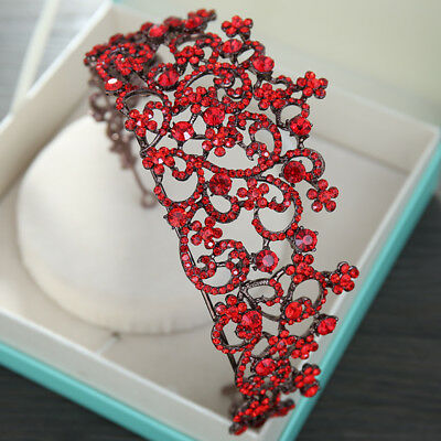 Baroque Wedding Bridal Red Crystal Queen Crown Headband Tiaras Pageant Prom Gift