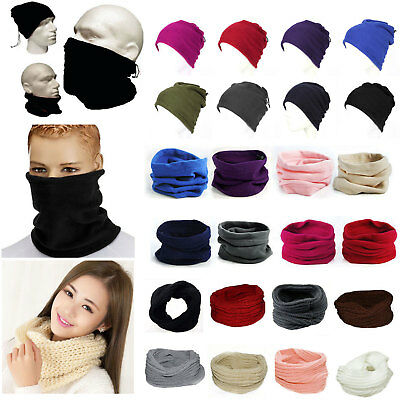 Mens Womens Unisex Polar Fleece Scarf Ski Neck Warmer Knit Snood Mask