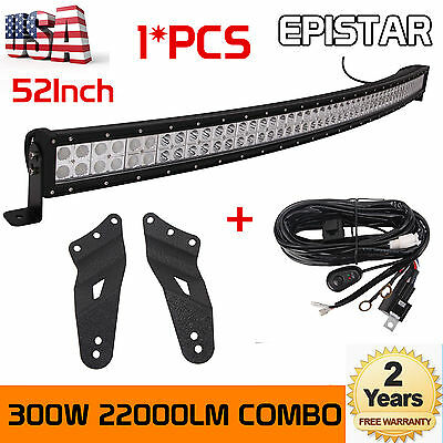 52inch 300W Curved LED Light Bar + Mount Bracket for GMC Silverado 99-06+Harness