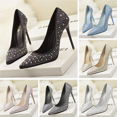 Women's Pointed Toe High Heels Office Lady Wedding Work Party Pumps Bridal Shoes