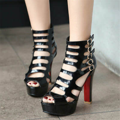 Sexy Women Chunky High Heels Peep Toe Hollow-Out Buckle Strappy Platform Pumps