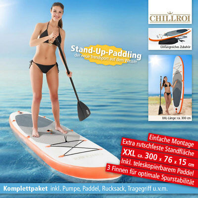 SUP Stand Up Paddle Surf Board aufblasbar inkl. Paddel & Pumpe Paddling 300 cm