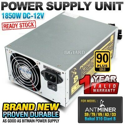 1850W DC-12V PSU Mining Power Supply Unit Bitmain ANTMINER S9 A3 V9 D3 T9 L3+
