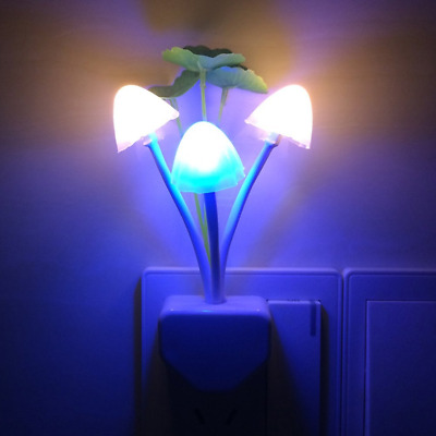 Warmstor Cute Mushroom Lotus Leaves Colors Changing LED Night Light With Dusk to