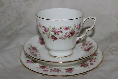 Vintage Colclough  English Chine Trio Tea Cup soucoupe plate Cascade Pink Roses