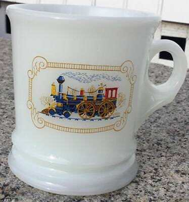 "Vintage Avon White Milk Glass ""train"" Shaving Mug/ Cup Steam Train Locomotive"