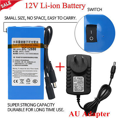1800 - 20000mAh DC 12V Rechargeable Portable Super Li-ion Battery + AU Adapter N