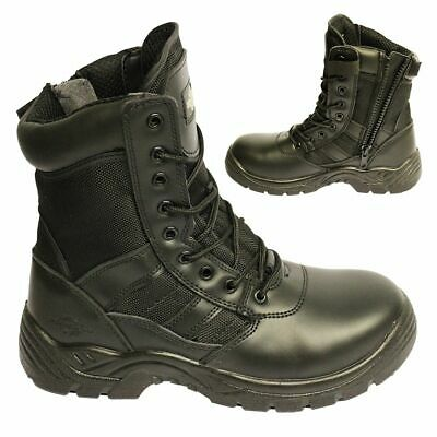 MENS LEATHER SAFETY BOOTS Army Military Police • Steel Toe Cap Combat Work Shoes