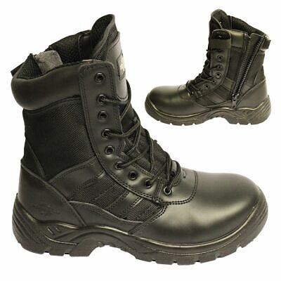 Mens Leather Safety Boot Army Military Police Steel Toe Cap Combat Work Shoes
