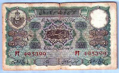 513-1237 # Hyderabad | 2Nd Issue, 5 Rupees,1939,zahid Hussain, Jhun # 7.6.4,vg-F