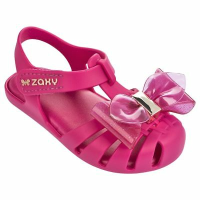 Baby Girls Zaxy Bright Pink Glamour Bow Soft Jelly Sandals Sizes UK Baby 3 - 11