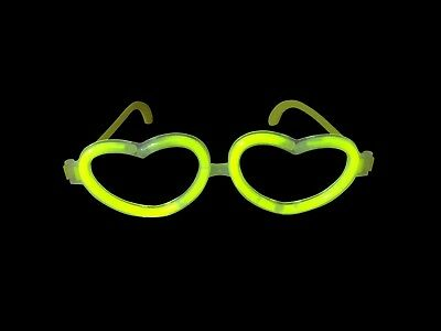 10 Pairs Glow in the Dark Heart Glasses Glow Stick Bright Neon Coloured Parties