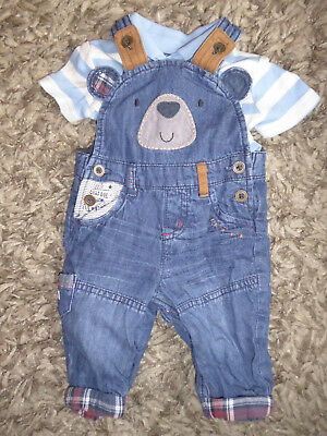 NEXT - Cute Baby Boys Bear Face Dungarees & Dumbo T-Shirt 0-3 Months Outfit VGC
