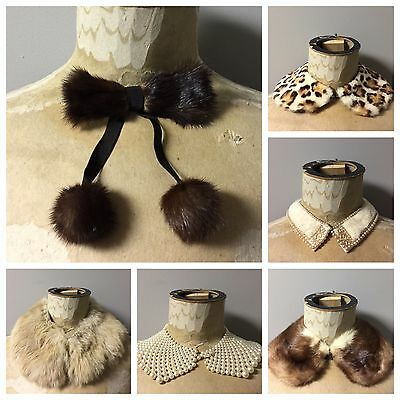 Lot Of 6 1950s Era Ladies Fur And Pearl Shirt And Collar Vintage Accessories