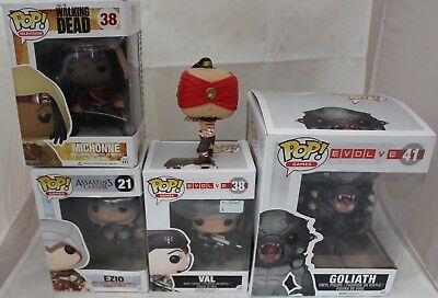 5 Pop Figures, Walking Dead, Assasins Creed, Evolve, LOL (4 Boxed) - 214
