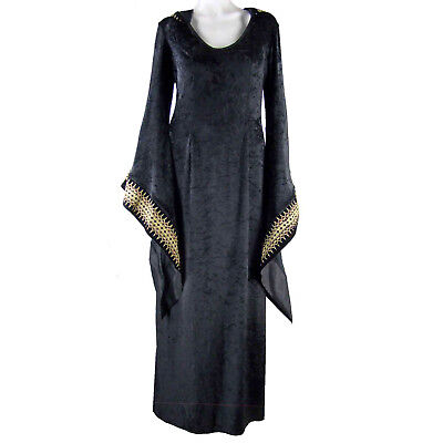 Ren Medieval Cosplay Hooded Gown Black Long Dress Theater Reenactment OS (M L)