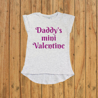 Daddy's mini valentine, girls valentines day outfits, girls personalized shirt