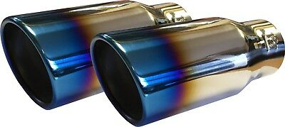 "X2 Burnt Ionized Universal 8.25"" Car Round Exhaust Tip End Pipe Stainless Steel"