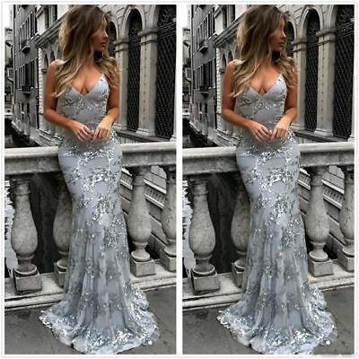 Women Silver Halter Sequins Mermaid Long Prom Gowns Lace Backless Cross Back Flo